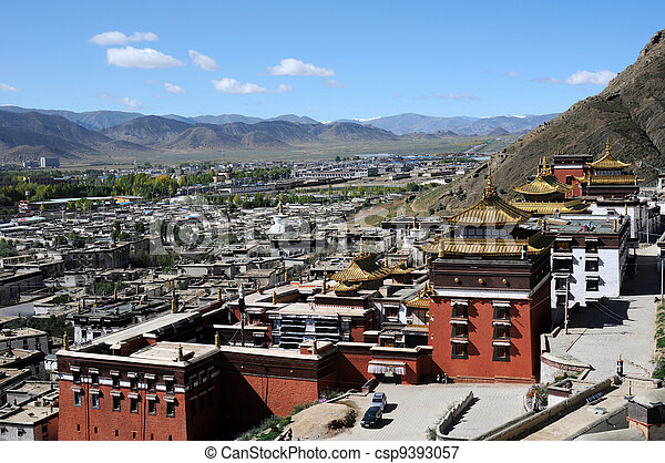 Historic lamasery in Shigatse, Tibet - csp9393057