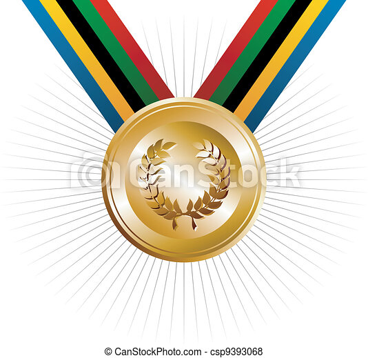Olympics games gold medal with laurel wreath - csp9393068