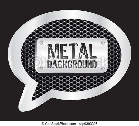 metallic text balloon - csp9393395