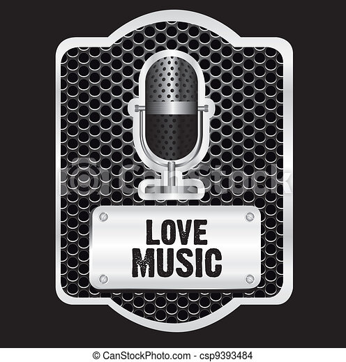 music label with grid pattern over black backgound - csp9393484