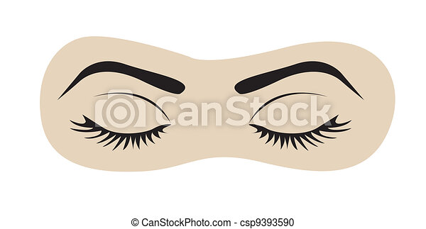 closed eyes with eyelashes and eyebrows - csp9393590