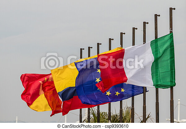 european union flags - csp9393610