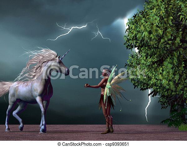 Fairy and Unicorn - csp9393651