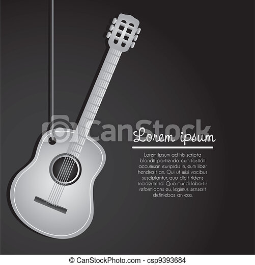 acoustic guitar hanging  - csp9393684