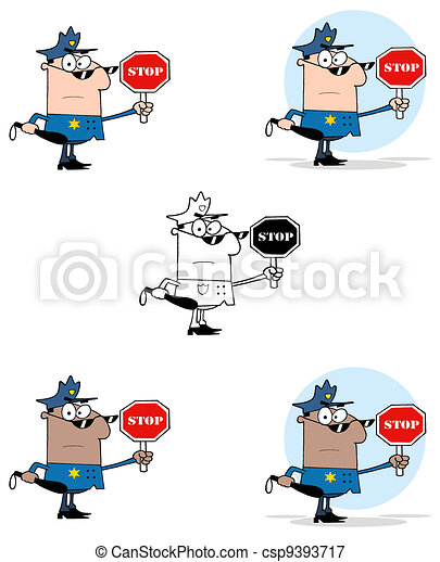 Police Officer Holding A Stop  - csp9393717
