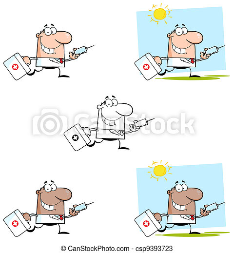 Doctor Running With A Syringe - csp9393723