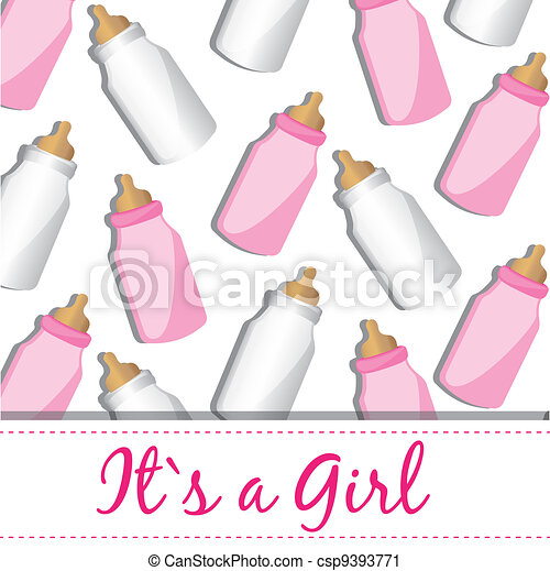 fund baby bottles pink and white - csp9393771