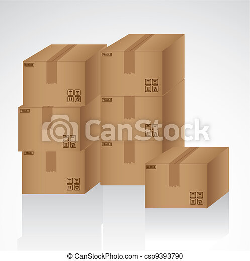 cardboard boxes stacked - csp9393790
