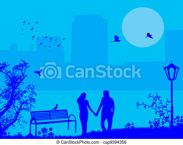 Couple in a city park on blue - csp9394356