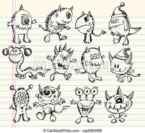 Monster Alien Creature Sketch set - csp9394489