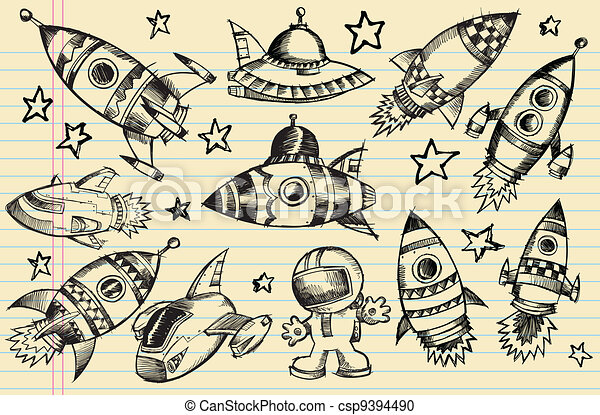 Outer Space Doodle Sketch elements - csp9394490