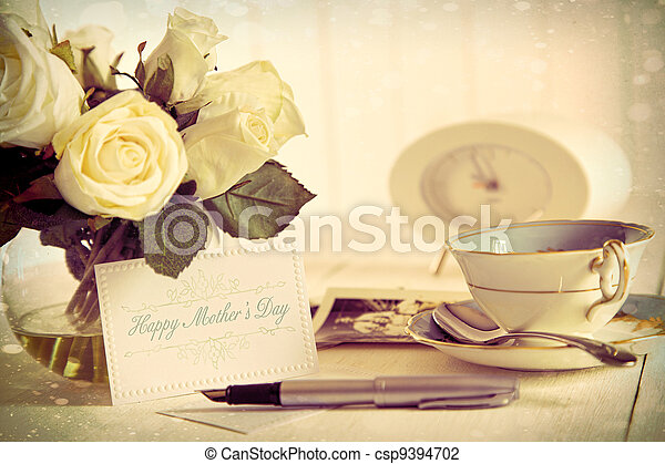 Roses and note card for Mother's day - csp9394702