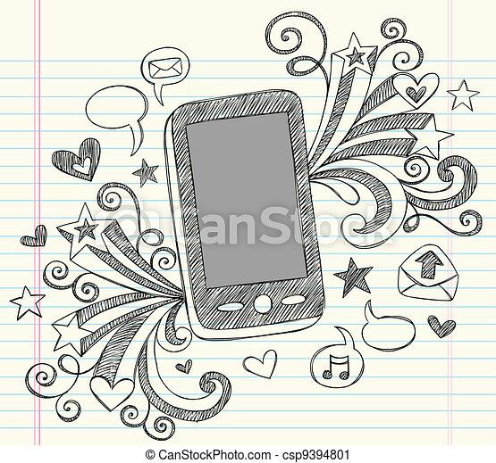Cell Phone PDA Sketchy Doodles Set - csp9394801