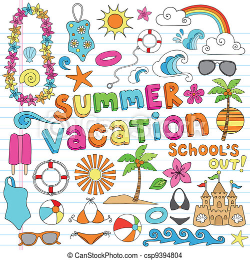Hawaiian Summer Vacation Doodles - csp9394804