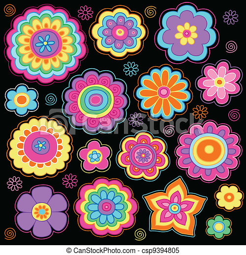 Flower Power Groovy Doodles Set - csp9394805