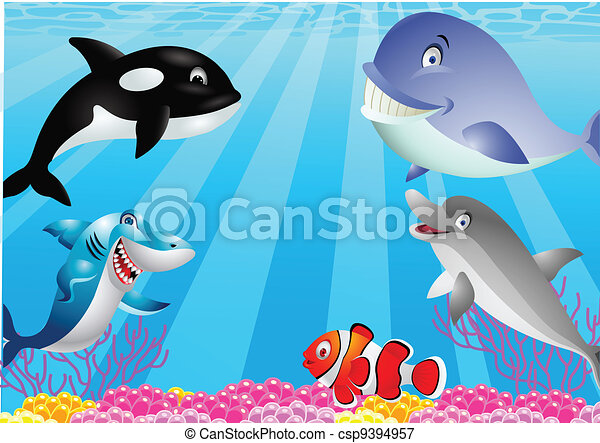 Sea life cartoon  - csp9394957