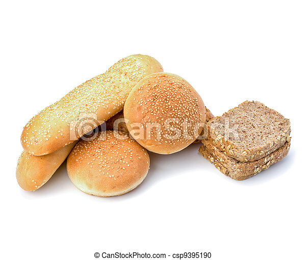 Bread loafs and buns variety - csp9395190