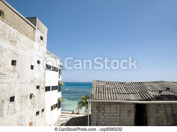 Photo - antilles, mer, vue, ville, vieux, hôtel, plage, san, andres