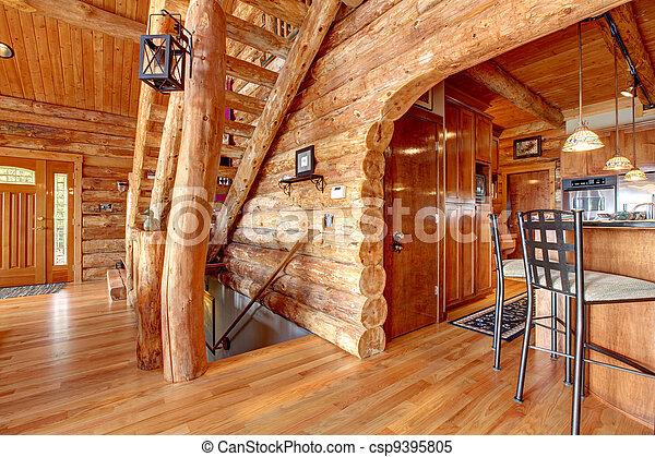 Stock im genes de registro caba a cocina escalera for Piani di log cabin lodge