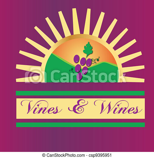 Vines and wines sun logo - csp9395951