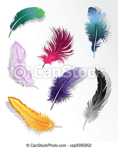 Multicolored feather%u2019s set - csp9395952