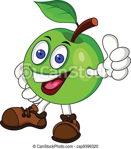Green apple cartoon character - csp9396320