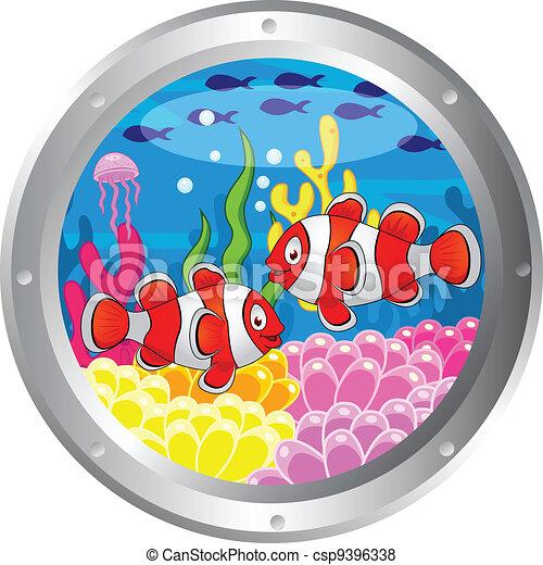 Clown fish cartoon with porthole fr - csp9396338