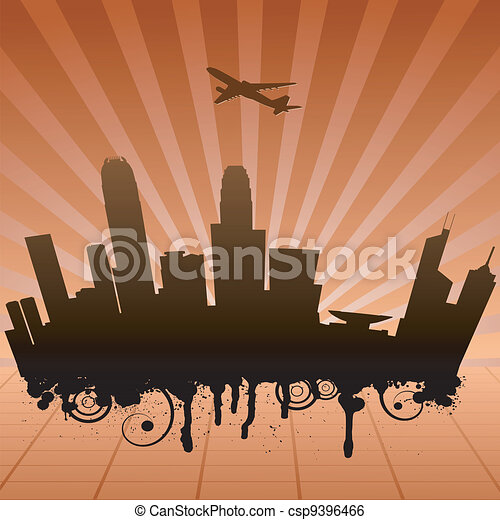 Vector illustration of urban landscape of Hongkong - csp9396466
