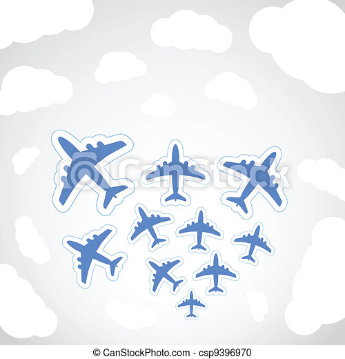 Flying airplanes  - csp9396970