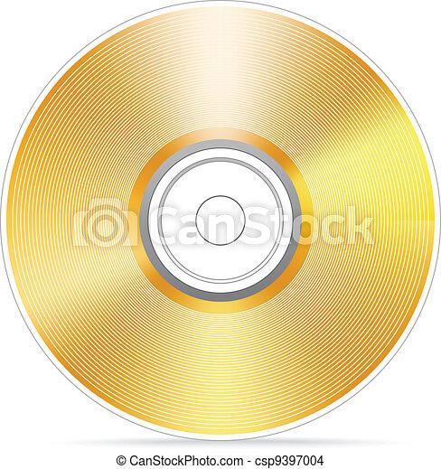 Golden compact disc vector illustra - csp9397004