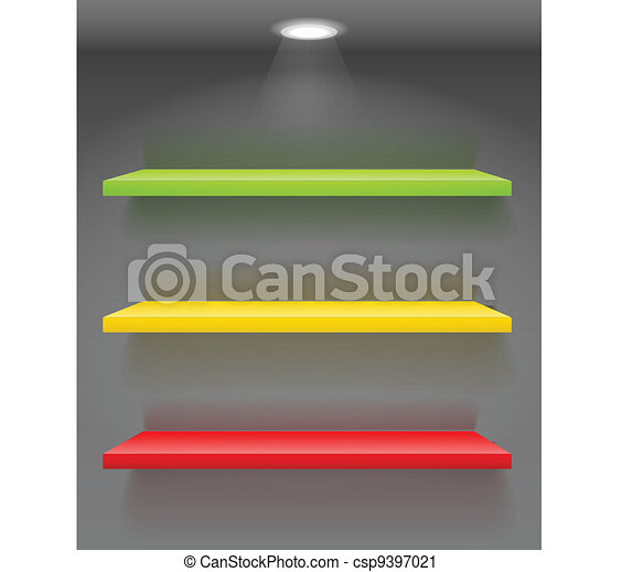 Colorful book shelves on dark wall - csp9397021