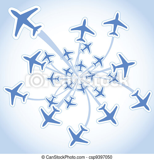 Flying airplanes - csp9397050