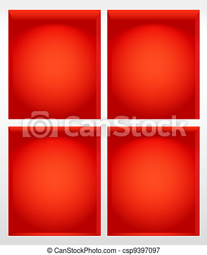 Illuminated empty red book shelves - csp9397097