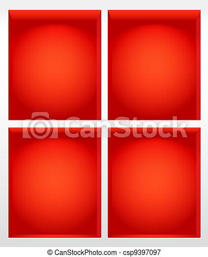 Illuminated empty red book shelves  - csp9397097