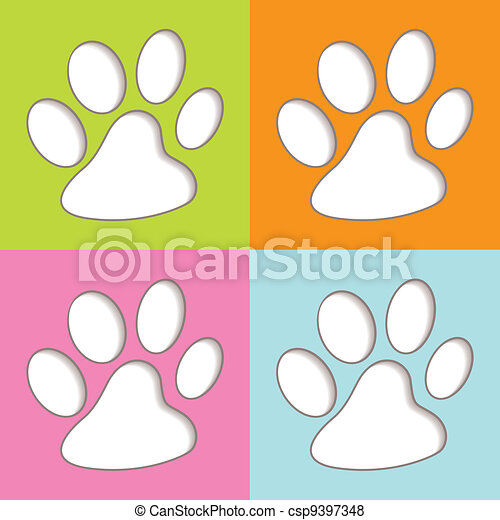 Animal Paw colourful - csp9397348