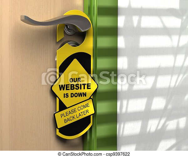 website down written onto a yellow door hanger, informative message, green border, white wall  - csp9397622