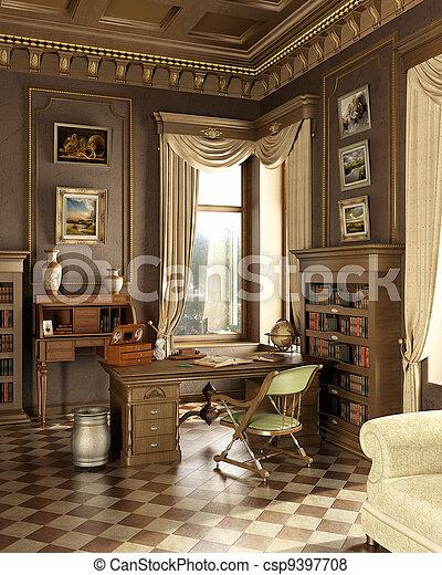 rum, gammal,  studio, klassisk - csp9397708