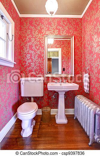 stock bild von luxus rotes gold klein badezimmer silber heizk rper csp9397836 suchen sie. Black Bedroom Furniture Sets. Home Design Ideas