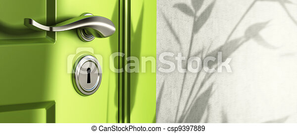 home entrance, close up of a handle and keyhole, green door and a wall, shadow of leaves - csp9397889