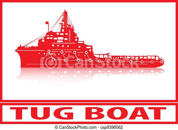 Vector Illustration of Tug boat. - Tug boat in red silhouette ...