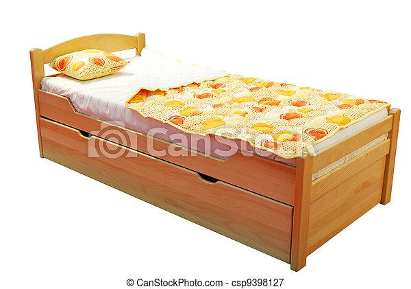 children wooden bed - csp9398127