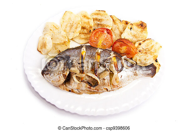 tray of baked fish - csp9398606