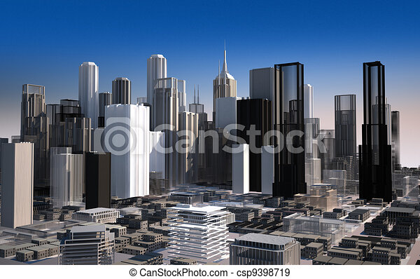 Modern cityscape in daylight. Close up view. - csp9398719