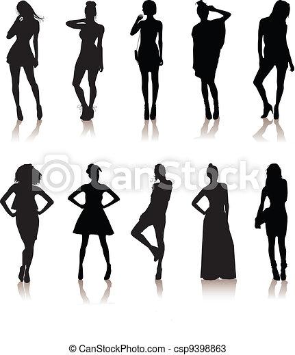 set of various beautiful model girls in dress.Lady girls - csp9398863