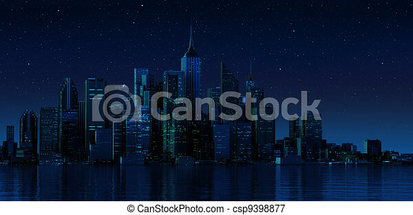 Cityscape generic with modern buildings and skyscrapers on water. Night time version. - csp9398877