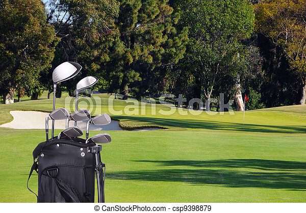 Golf Clubs in Bag on Fairway - csp9398879