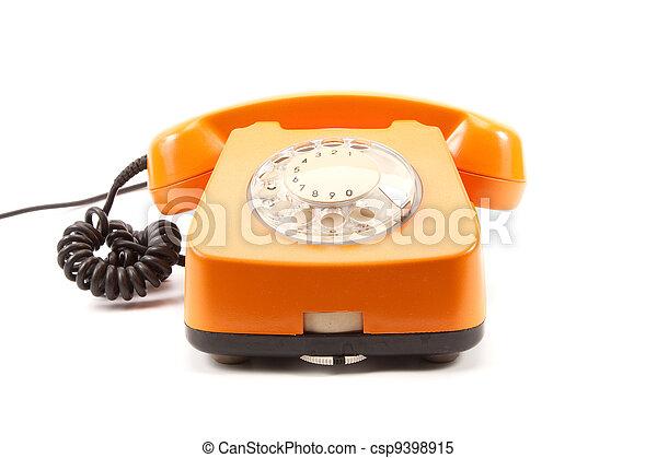 Orange retro telephone - csp9398915
