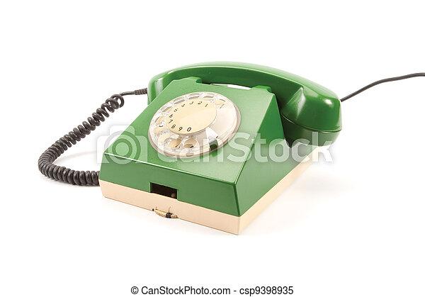 Green retro telephone - csp9398935