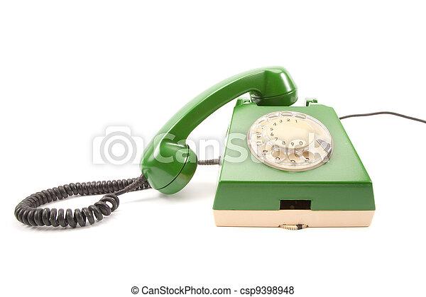 Green retro telephone - csp9398948