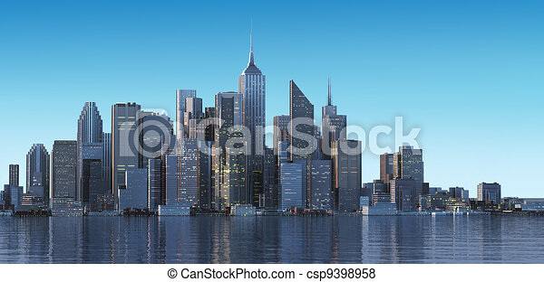 Cityscape generic with modern buildings and skyscrapers on water. Early morning, or late afternoon light. - csp9398958